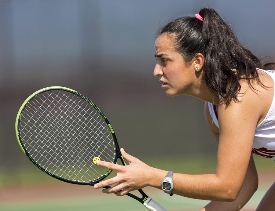 Sophomore Natalia De Ugarte competes in a match against East Tennessee State on April 13, 2017 at the WKU tennis courts. On Sunday De Ugarte and her sophomore doubles partner Cindy Oest fell 6-2 to a Middle Tennessee State University pair.