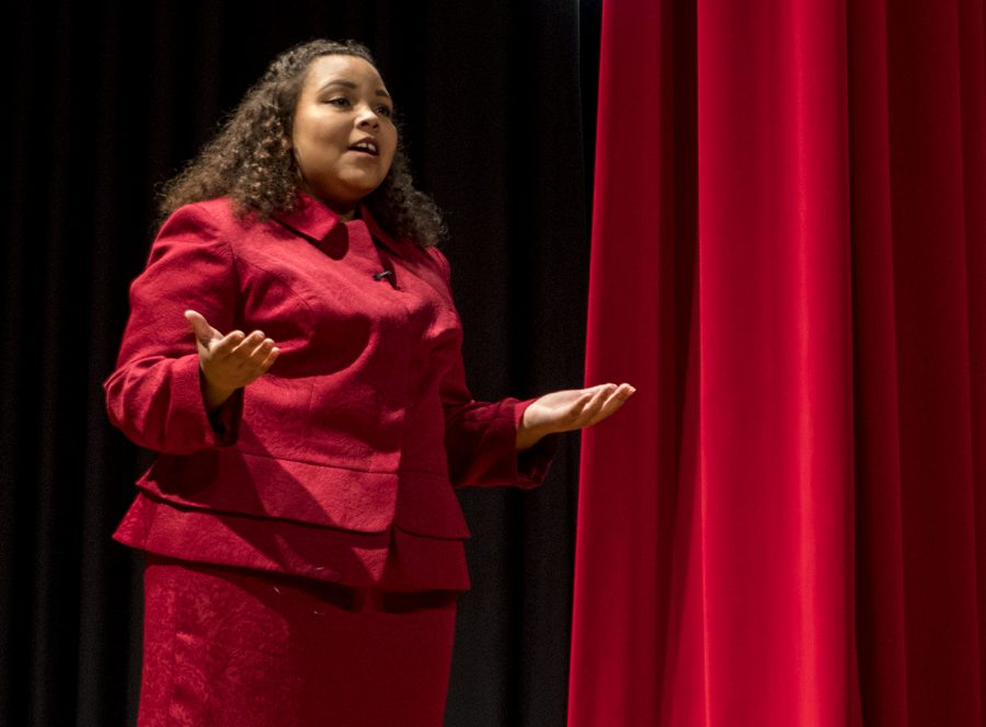 Freshman Symone Whalin speaks at the third annual Black Excellence Exposition in Downing Student Union on Feb. 28. My speech is important to me because I truly believe that it is time for America to recognize and heal the health disparities between black and whites, Whalin said.