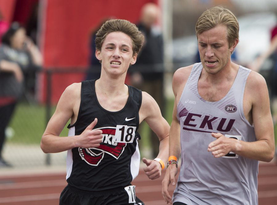 Taylor Scarbrough runs the men's 3000m race at the Hilltopper Relay event, which took place on Friday, April 6 at the Charles M. Rueter Track and Field Complex. Scarbrough placed 3rd in the race.