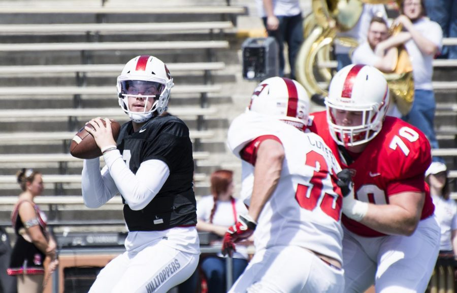WKU quarterback Steven Duncan (10) looks to pass during the spring scrimmage on April 21. Duncan was arrested on a DUI charge on Sunday morning.
