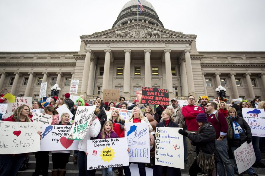 Teachers and supporters gathered on April 2 at the Kentucky State Capital Building in Frankfort, Ky. to protest a new pension bill SB151.