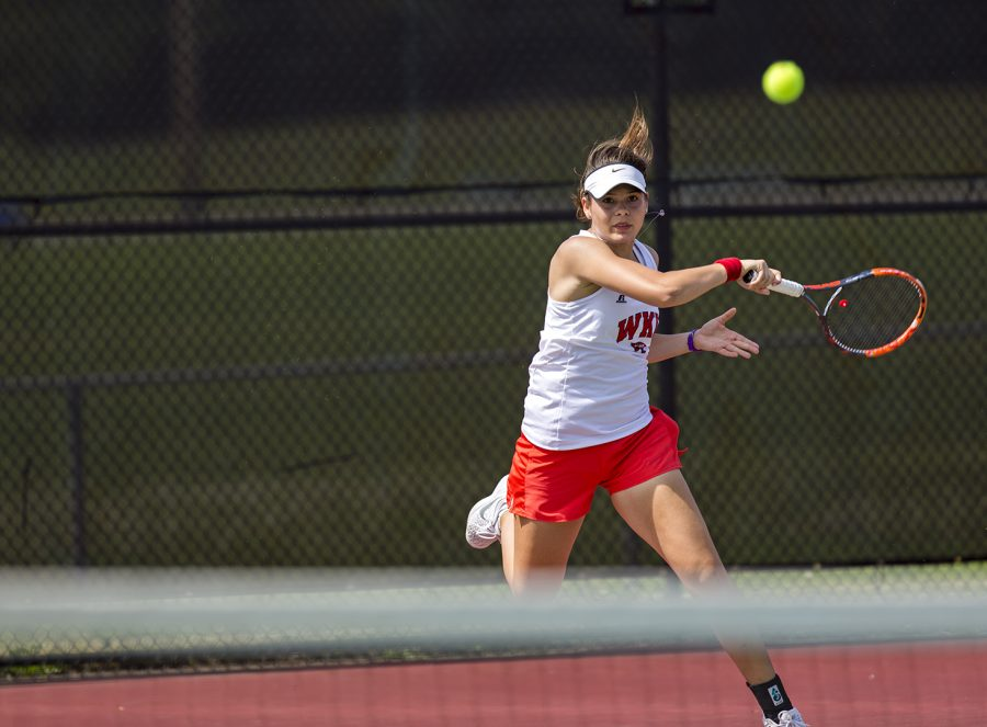 Cindy Oest competes in a singles match during the last match of the season against East Tennessee State University on April 13, 2017 at the WKU tennis courts. The Lady Toppers faced off against Florida International University in Nashville on Sunday and came out with a 4-1 loss against the Panthers.