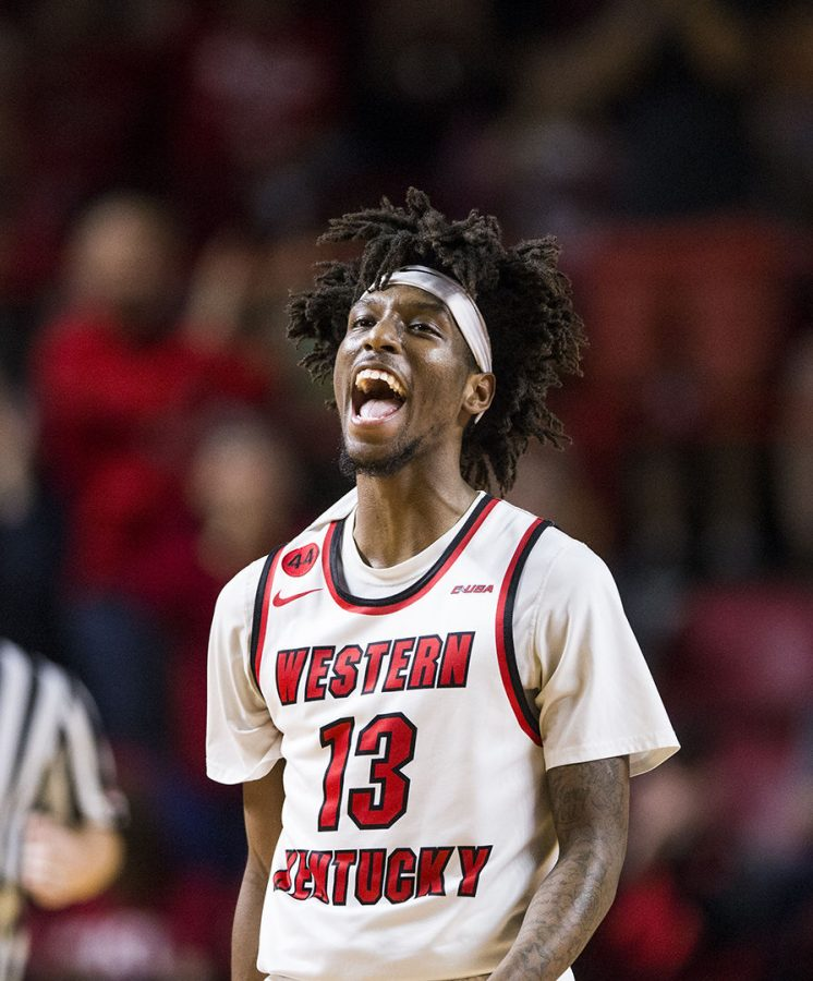 WKU guard Taveion Hollingsworth (13) celebrates after scoring during the game against Old Dominion on Saturday, Feb. 24, 2018. Hollingsworth scored 20 points and played 33 minuets.