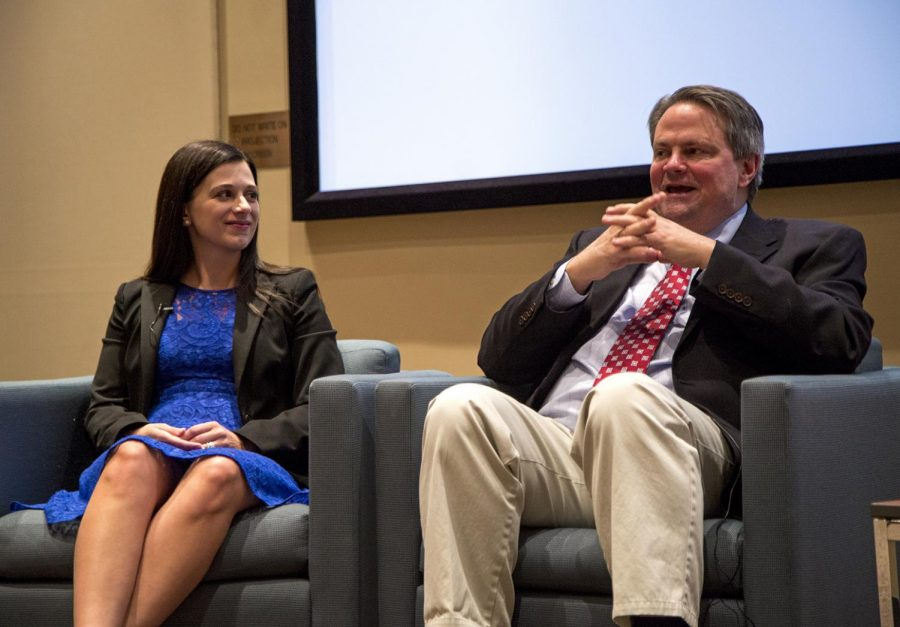 Indianapolis Star reporters Marisa Kwiatkowski and Tim Evans speak about their coverage of the Larry Nassar and USA Gymnastics sexual abuse scandal on April 9 in Jody Richards auditorium as part of the John B. Gaines Family Lecture Series.