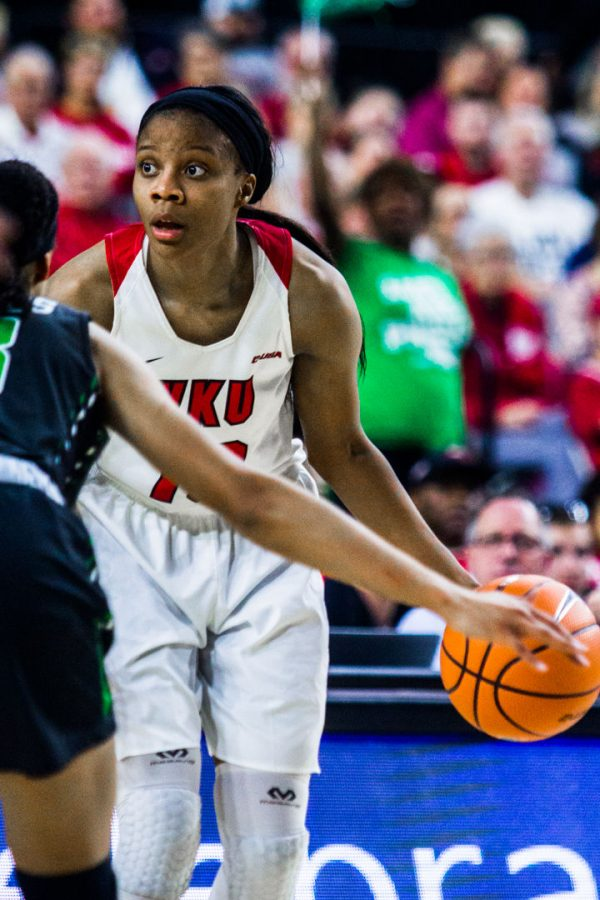 WKU+Forward+Tashia+Brown+%2810%29+looks+to+pass+during+the+Lady+Toppers+77-61+win+in+the+semifinal+game+of+the+Conference+USA+tournament+against+University+of+North+Texas+on+Friday+March+9%2C+2018+at+The+Star+in+Frisco%2C+Tx.