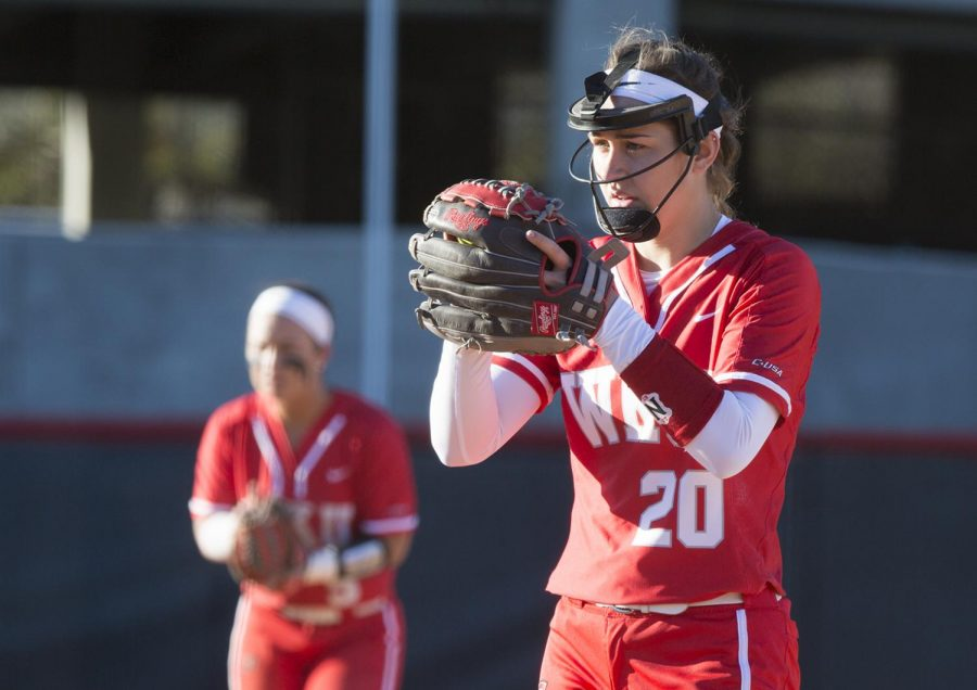 Sophomore+pitcher+Haylee+Towers+prepares+to+make+a+pitch+during+the+Spring+Fling+tournament+at+the+softball+complex+on+March+2.+Towers+has+played+a+wide+variety+of+positions+in+her+short+time+so+far+on+the+team.+The+Lady+Toppers+lost+the+game+against+Austin+Peay+5-0.