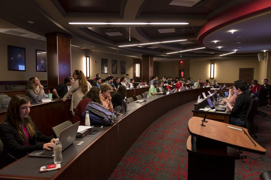 The SGA meets on Feb. 27 in the SGA chambers in Downing Student Union. They discussed the recent budget cuts and ideas on what that would consist of in the future as well as the dining contract with Aramark.