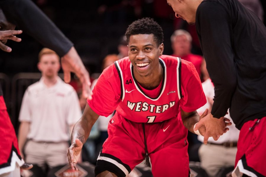 WKU+guard+Lamonte+Bearden+is+introduced+before+the+start+of+the+the+semifinals+of+the+NIT+Championship+in+Madison+Square+Garden+on+Tuesday+night.+WKU+lost+69-64.