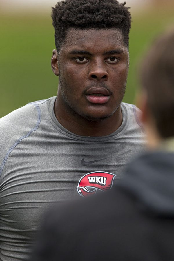 Former WKU tight end Deon Yelder talks to the media following WKU Football pro day on Friday March 30 at Houchens-Smith Stadium. During Yelder 30 games appearance, he averaged 22.9 receiving yards per game.