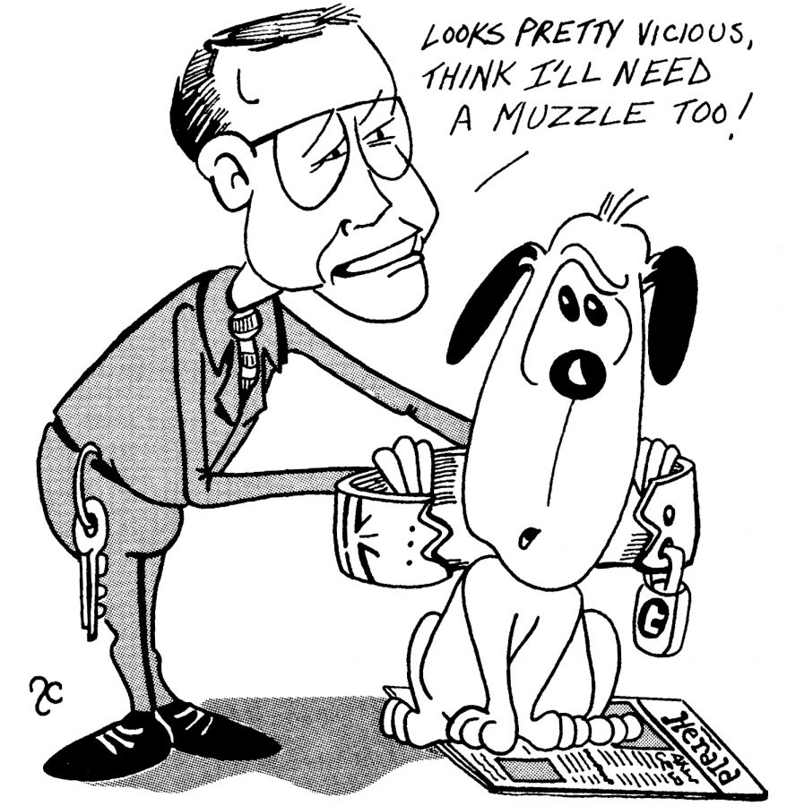 A 1988 editorial cartoon depicts then President Alexander Kern attempting to muzzle the Herald. Kern had proposed installing a faculty editor who would have the final say in what the Herald publishes.