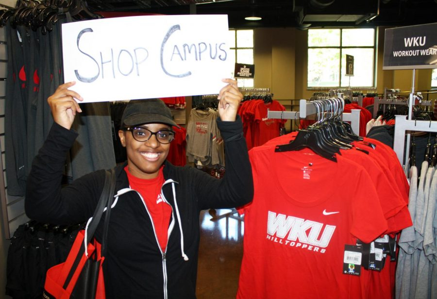 A student shops local at the WKU Store.
