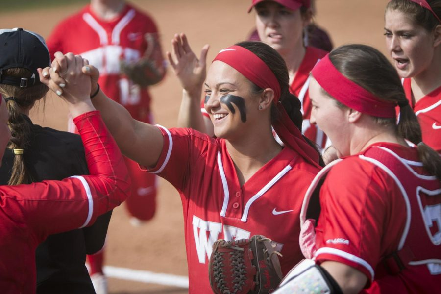 Redshirt senior Brittany Vaughn celebrates with the team during the the first game during the WKU vs. EKU doubleheader on April 11 at the softball complex. WKU defeated EKU 6-3 in the first game, but lost 8-4 in the second.