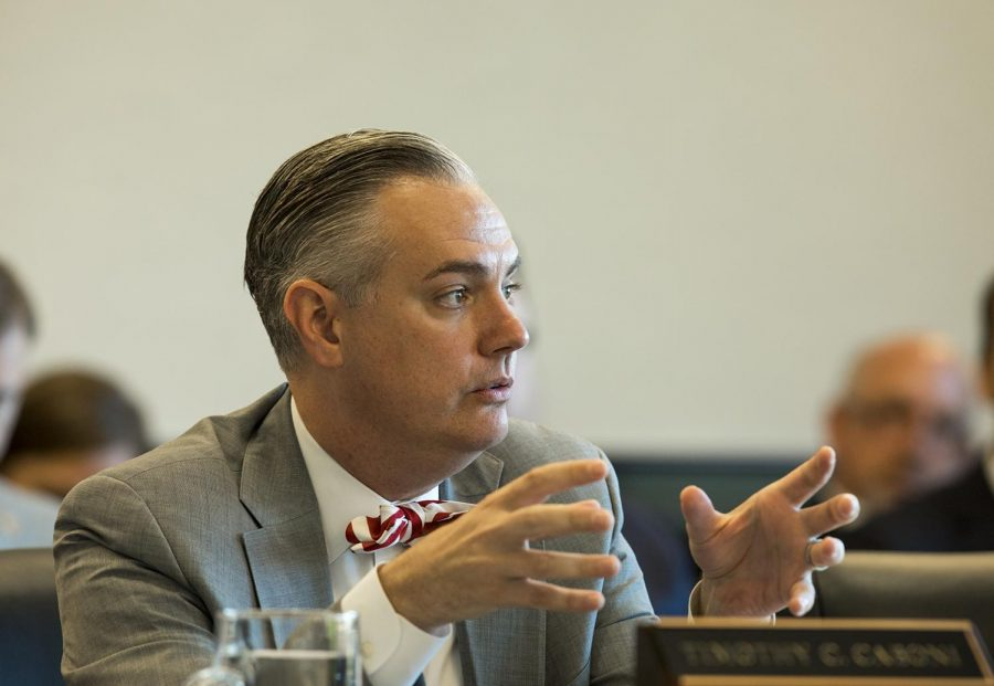 President Timothy Caboni speaks at the Board of Regents meeting on April 27 in Jody Richards Hall.