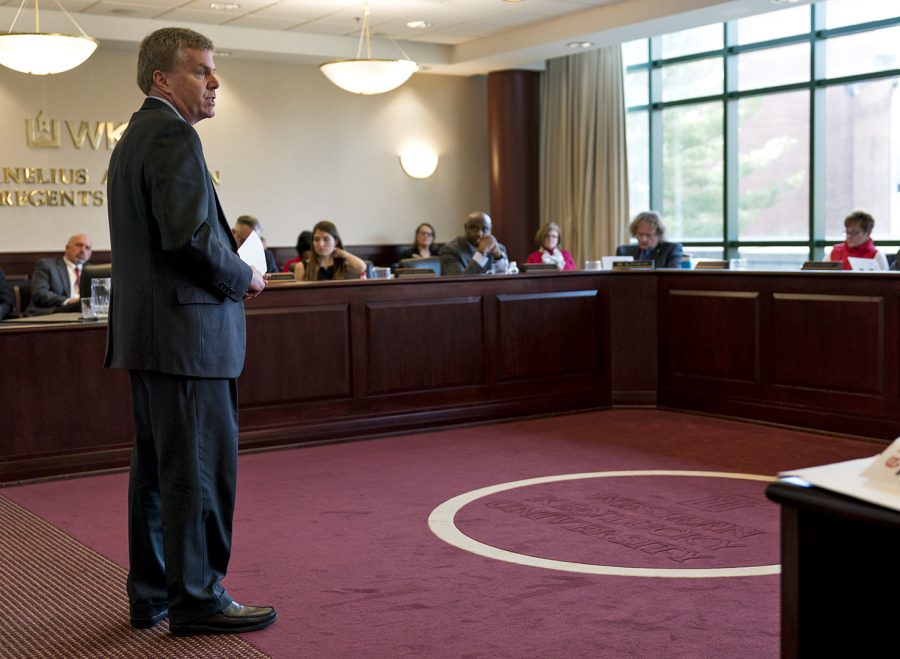 WKU Athletics Director Todd Stewart stands before the WKU Board of Regents on Jan. 26. The Board approved seven hirings and one raise for athletics on April 27.