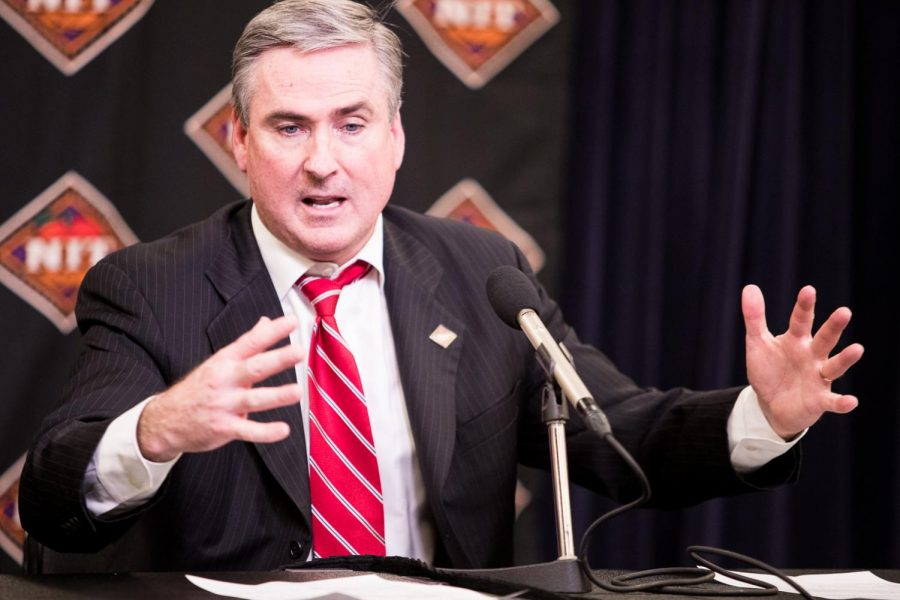 WKU basketball head coach Rick Stansbury addresses the media after the semifinals of the NIT Championship against Utah on Tuesday night. WKU lost 69-64.