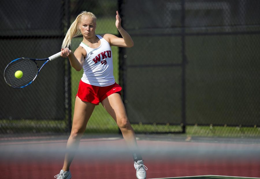 Sophomore Monica Malinen plays a singles match against East Tennessee State University April 13, 2017 at the WKU tennis courts. Malinen, alongside her doubles partner freshman Moka Ito, defeated a Middle Tennessee State University pair 6-4.