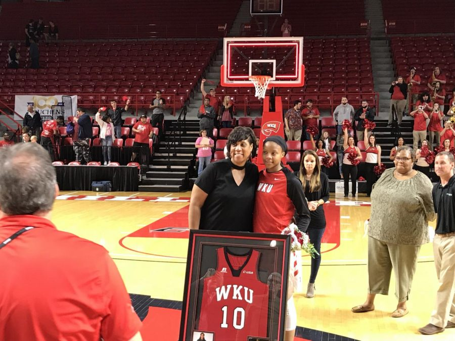 Tashia Brown is honored on senior night, alongside former Lady Topper head coach Michelle Clark-Heard. Brown was the 2017-18 Conference USA Player of the Year.