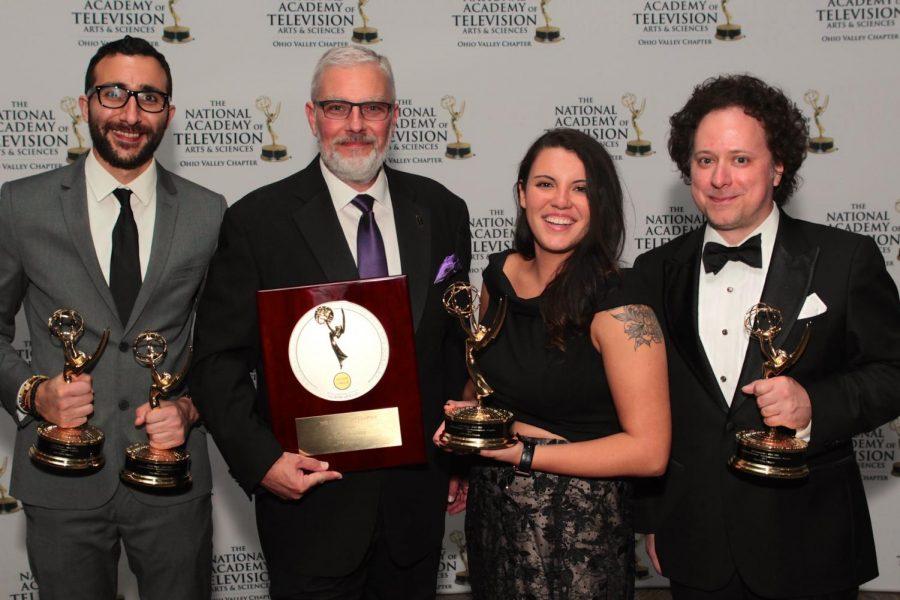 (L to R): Darius Barati, David Brinkley, Kelli Brock and Jeff Petrocelli at the 54th annual Ohio Valley Emmy Awards.