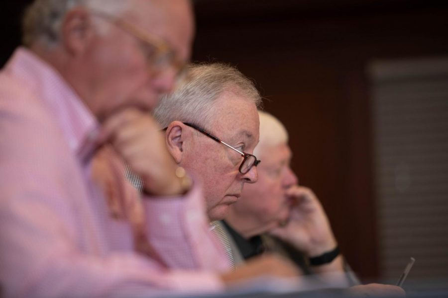 Gil Johnson, WKU Board of Regents vice chair, listens as the board discusses the strategic plan with President Timothy Caboni during the board's annual retreat on Thursday, Aug. 2.