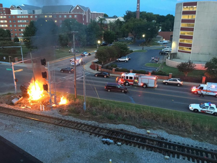 An accident outside the Registry Apartments resulted in a fire. Photo provided by Olivia Eiler with Channel 12 News