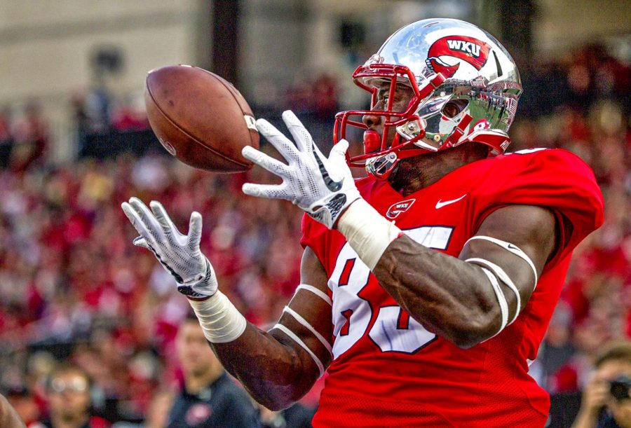 WKU+tight+end+Mik%27Quan+Deane+%2885%29+catches+a+pass+for+a+touchdown+at+the+WKU+Homecoming+football+game+on+Saturday+October+14%2C+2017+at+Houchens-Smith+Stadium.+WKU+won+45-14.