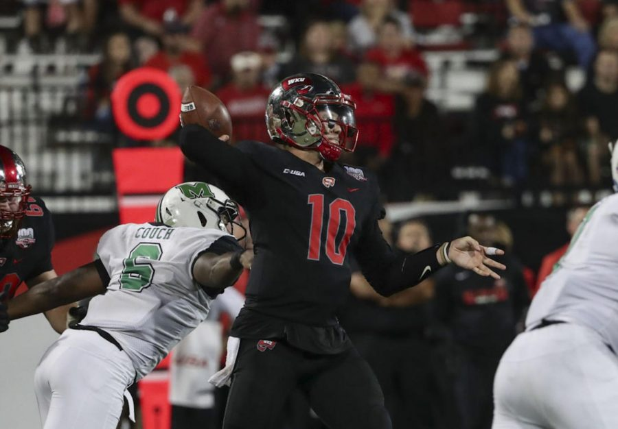 Steven+Duncan+attempts+a+pass+during+WKU%27s+loss+to+Marshall+on+Saturday.+Duncan+threw+for+263+yards%2C+one+touchdown+and+one+interception+in+the+game.%C2%A0