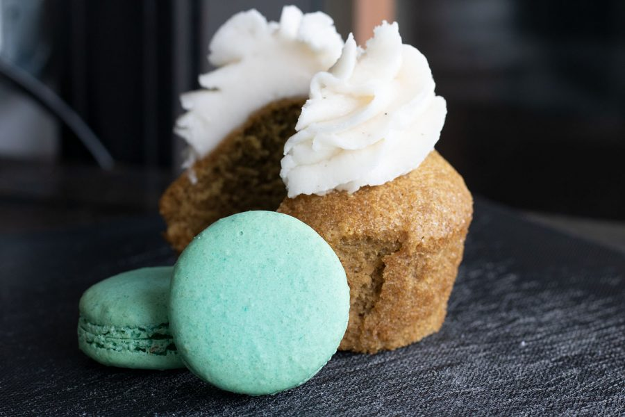 A+vegan+vanilla+latte+cupcake+and+gluten-free+macarons+are+among+the+many+options+Little+Fox+Bakery+off+ers+for+customers+with+a+variety+of+dietary+needs.