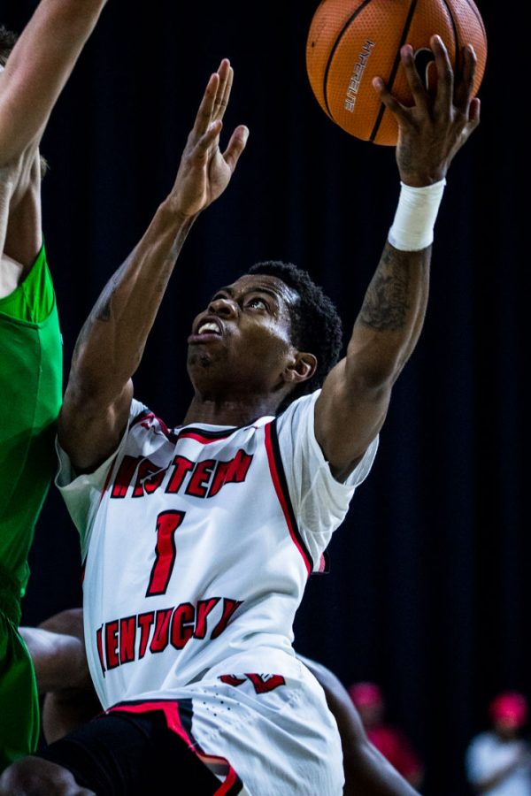 WKU Guard Lamonte Bearden (1) goes up for two during the Hilltoppers 67-66 loss in the championship game of the Conference USA tournament against Marshall University on Saturday March 10, 2018 at The Star in Frisco, Tx.