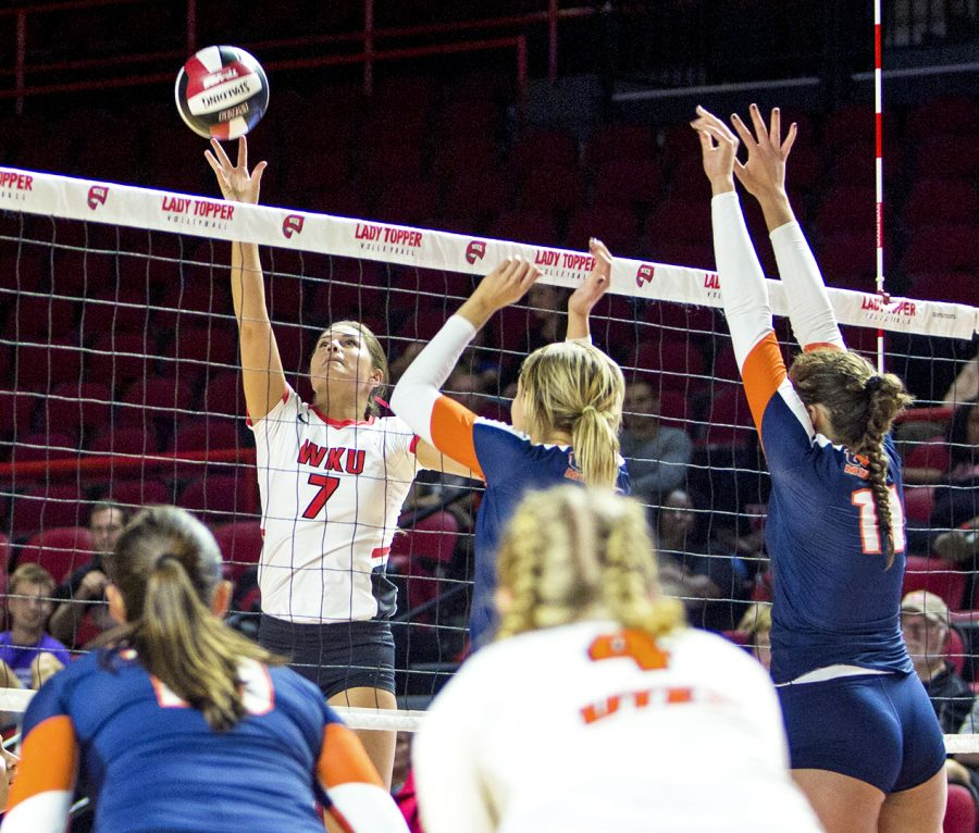Outside hitter Alyssa Cavanaugh (7), spikes the ball against UTEP Miners gaining a point for the lady toppers on Fri. Oct. 20, 2017 at Diddle Arena. The lady toppers won all three sets, bringing home WKU another win.