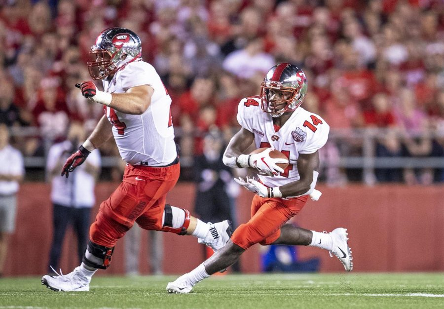 Western Kentucky Hilltoppers running back Garland LaFrance (14) rushes the ball during the NCAA football game between the Western Kentucky Hilltoppers and Wisconsin Badgers at Camp Randall Stadium on August 31. CHRIS KOHLEY/HERALD