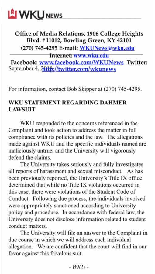WKU response to Dahmer