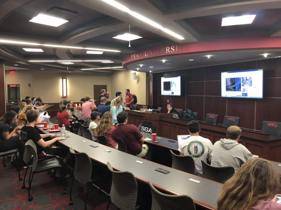 The newly elected senators for Student Government Association were announced at a celebration in the Senate Chambers Tuesday night. Photo by Nicole Ziege