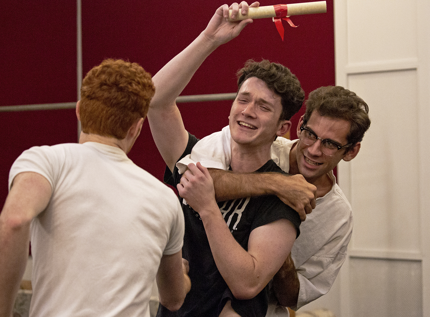 Connor+Keef%2C+Senior%2C+horse+plays+with+Jacob+Chamberlain%2C+and+Colby+Clark+during+rehearsals+for+the+play+Tartuffe+in+Gordon+Wilson+Hall.+The+show+runs+from+October+4th+through+October+the+9th.+%22It+has+been+the+most+fun+to+be+these+characters+with+this+cast%2C+everyone+is+bringing+their+best+and+taking+up+as+much+space+as+they+can%2C+which+has+made+for+a+very+interesting+dynamic%2C%22+Keef+said.