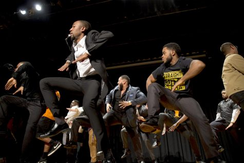The Eta Rho chapter and other chapters of Alpha Phi Alpha Fraternity, Inc. step at the end of the District Step Show on Friday, Feb. 3, 2017 in DSU Auditorium.   EBONY COX/HERALD