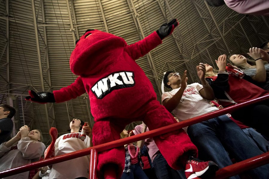 Big Red urges the crowd to rise to its feet in support of WKU during the second half of WKU's game vs MTSU in Diddle Arena.