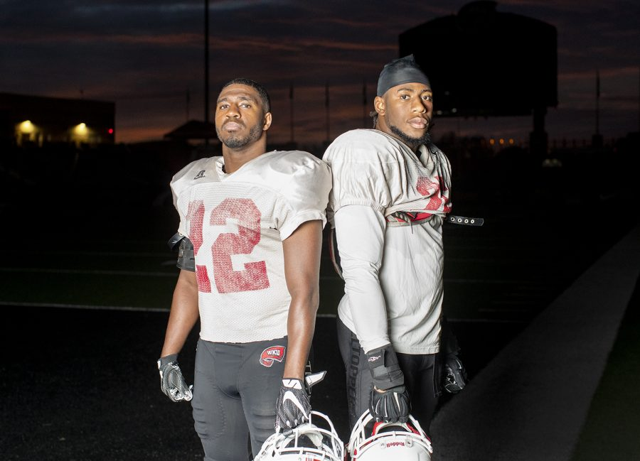 Redshirt senior defensive team standouts DeAndre Farris (22) and Masai Whyte (25) pose October 16 in Bowling Green. Farris and Whyte, defensive back and linebacker, respectively, are both from Shelbyville, Kentucky and led their high school to the 4A State Championship in 2013.