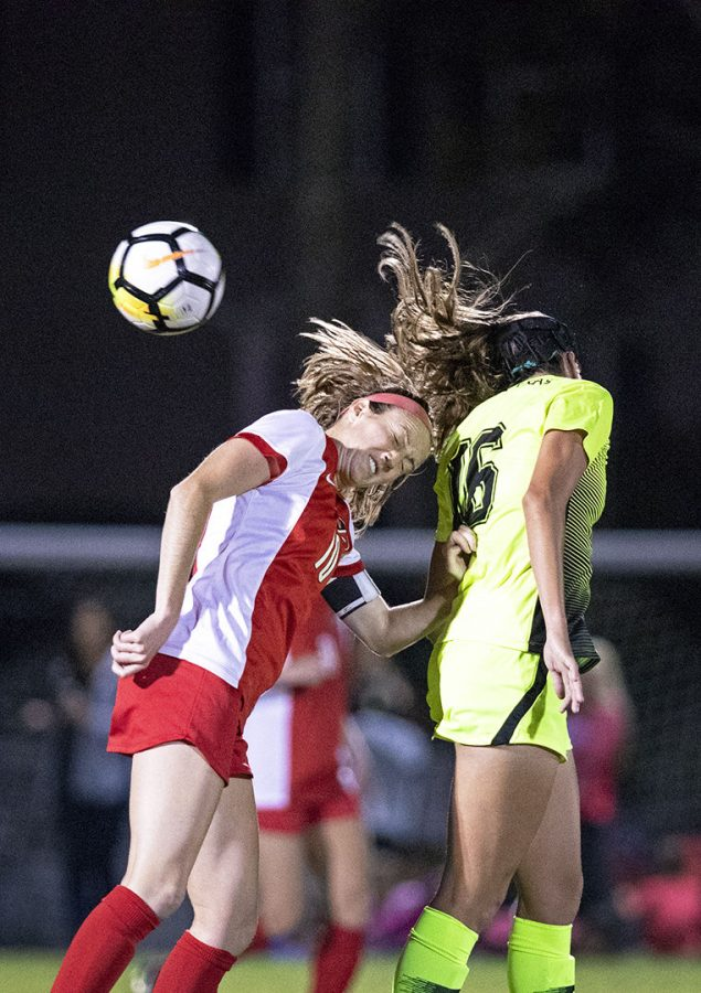 WKU s Sarah Gorham (10) wins a header from North Texas Elle Marie Defrain (16) Oct. 12 in Bowling Green.