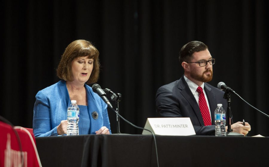 State representative candidates Patti Minter and Ben Lawson debate on issues facing Bowling Green community at Downing Student Union auditorium on Tuesday.