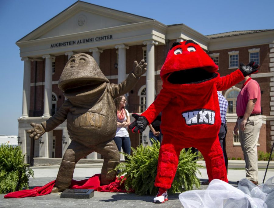Big Red poses during the unveiling of the new Big Red statue outside of the Augenstein Alumni Center on Saturday. (Mike Clark/HERALD)