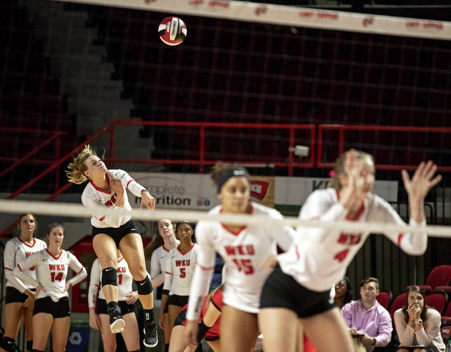 WKU's Sophia Cerino (23) serves the ball during a home game against North Texas on Friday, Oct. 19. This match was the Lady Toppers' third straight lost.