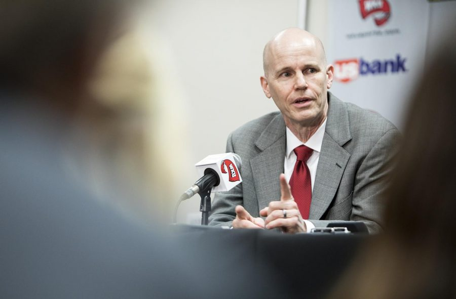 Greg Collins addresses the media during a press conference where he was announced as the new head coach of the WKU women's basketball team on April 4 in Diddle Arena. The announcement of Collins as head coach came shortly after Michelle Clark-Heard announced she would be leaving WKU to coach the Cincinnati Bearcats women's team.