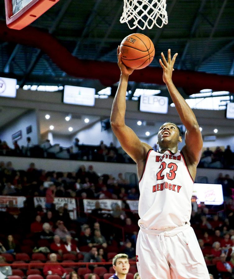 WKU+freshman+guard+Charles+Bassey+%2823%29+jumps+for+a+layup+during+an+exhibition+match+vs+Kentucky+Wesleyan+in+E.A.+Diddle+Arean+on+Saturday%2C+Nov.+3.