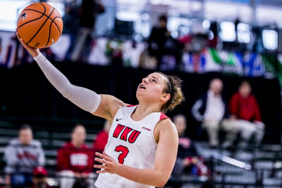 WKU guard Sidnee Bopp (3) goes up for two during the Lady Toppers 78-50 win in the first game of the Conference USA tournament against Texas-San Antonio on March 8, 2018 at The Star in Frisco, Tx. Bopp scored nine points in the Lady Toppers win.