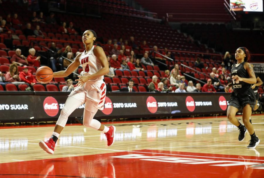 Redshirt junior guard Dee Givens drives the lane on a fastbreak during WKU's 104-74 win over West Virginia State Thursday. Givens scored a game-high 27 points.