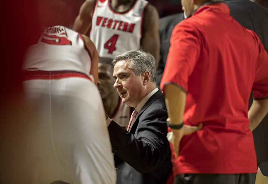 WKU+head+coach+Rick+Stansbury+gives+instructions+to+his+team+during+the+their+game+vs.+MTSU+on+Saturday+January+20%2C+2018+in+E.A.+Diddle+Arena.+Stansbury%27s+annual+salary+was+increased+by+%24150%2C000+due+to+his+recent+success+and+the+generosity+of+the+Hilltopper+Athletic+Foundation.