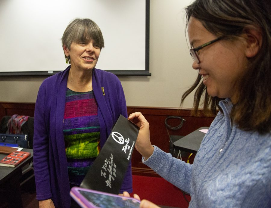 Mary Beth Tinker spoke in DSU to discuss first amendment rights with students.