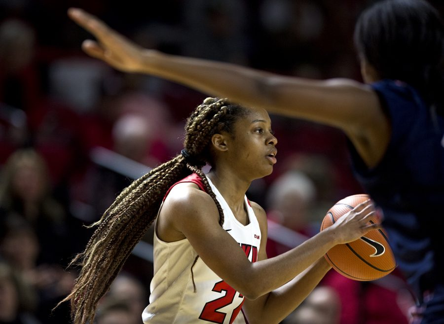 WKU Guard Sherry Porter (22) looks to make a pass during the Lady Toppers 82-63 win over Florida Atlantic on Saturday Feb. 3, 2018 at E.A. Diddle Arena.