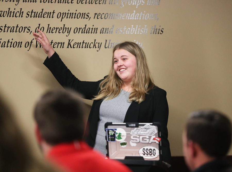 Senator-At-Large Anna McAvoy presents a bill on using a used textbook library for colonnade courses in cooperation with WKU bookstore during Student Government Association meeting on Tuesday, 13. 2018.