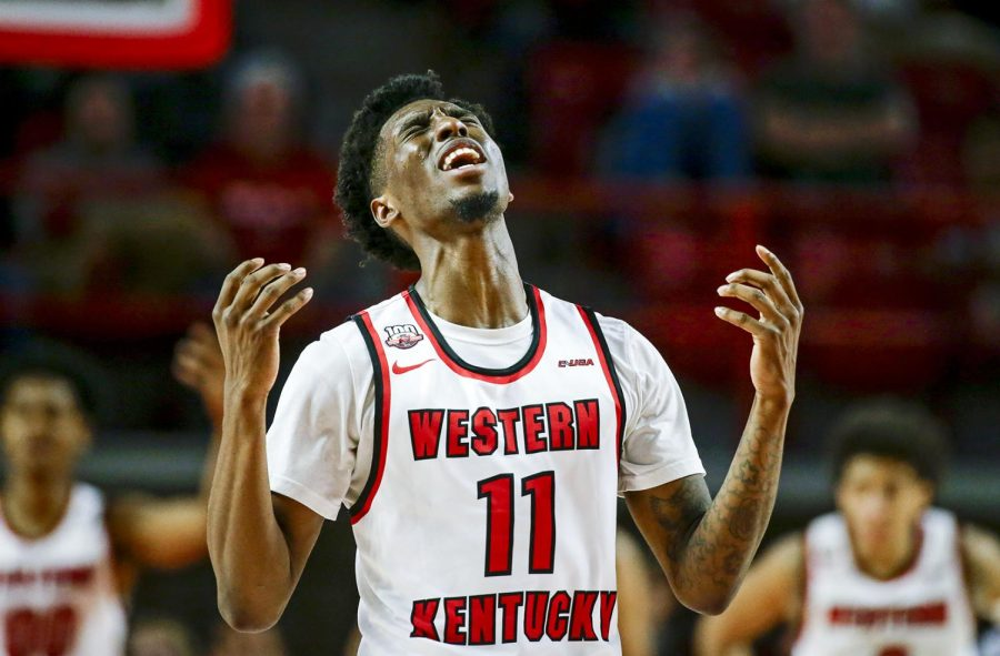 WKU+sophomore+guard+Taveion+Hollingsworth+%2811%29+reacts+to+a+foul+being+called+on+him+during+an+exhibition+match+vs+Kentucky+Wesleyan+in+Diddle+Arena+on+Nov.+3.+Hollingsworth+scored+24+points+in+the+win.
