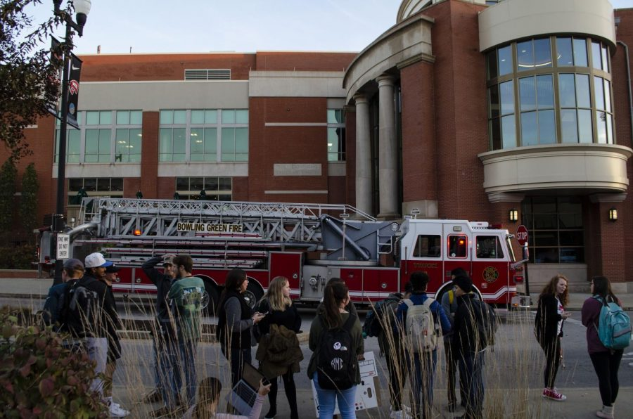 Downing Student Union was evacuated Friday evening after a small kitchen fire set off sprinklers in Fresh.